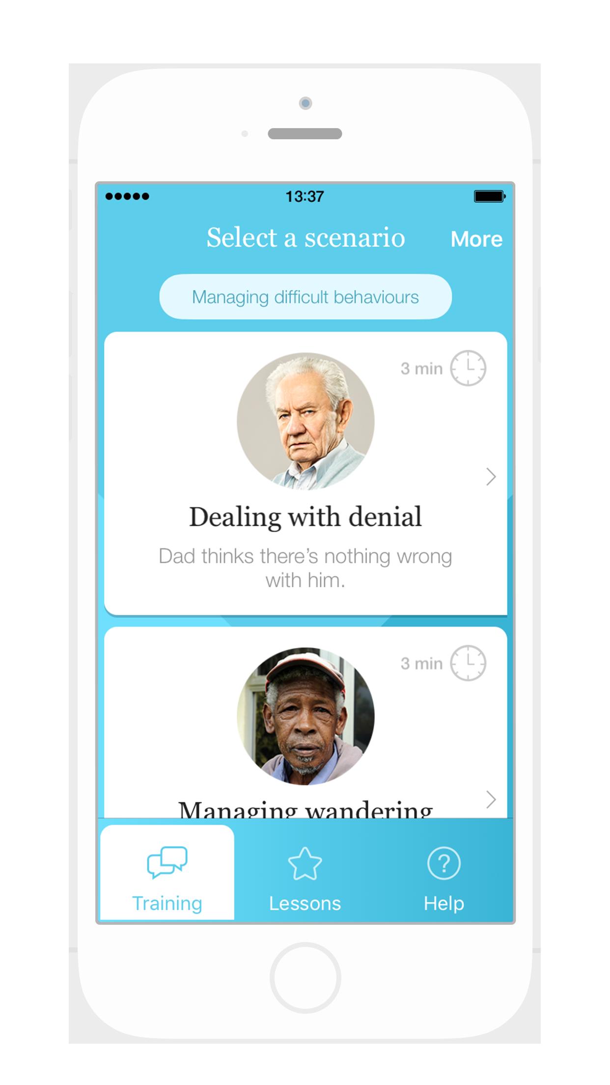 Select a scenario - screenshot from Dementia Advisor app