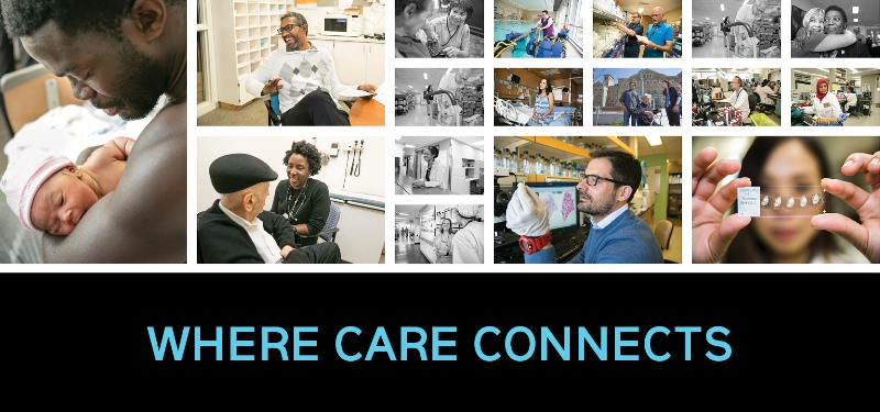 """Collage of images at the hospital with text """"Where Care Connects"""""""