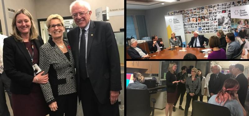 Sinai Health in the News: Kathleen Wynne and Bernie Sanders visit Mount Sinai Hospital