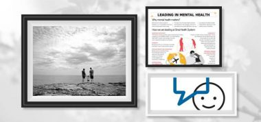 Three images, one black and white image of a family, one infographic and the bell let's talk image in picture frames on a balck and white background
