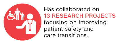 has collaborated on 13 research projects focusing on improving patient safety and care transitions