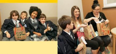 Two images show third grade kids giving gift bags to moms whose babies are in the NICU at Mount Sinai Hospital