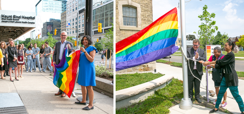 Two images side by side of two ceremonies held to raise the Pride flag at Mount Sinai Hospital and Bridgepoint Hospital