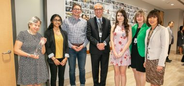 Group photo of four scholarship and bursary winners along with Sinai Health System's CEO, Vice President of Education and Vice President of Human Resources at a reception