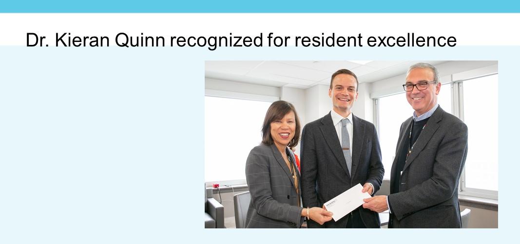 Dr. Kieran Quinn recognized for resident excellence