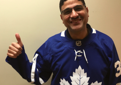 Wearing Hockey Jersey