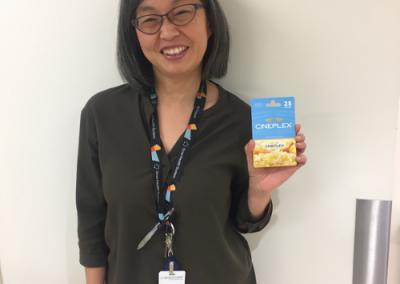Janet Sio wins a Cineplex gift card