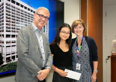Dr. Gary Newton CEO with Diamond Jubilee Scholarship recipient Vippy Chau (centre) and Lynn Ardizzi, Senior Director, Organizational Development & People Engagement