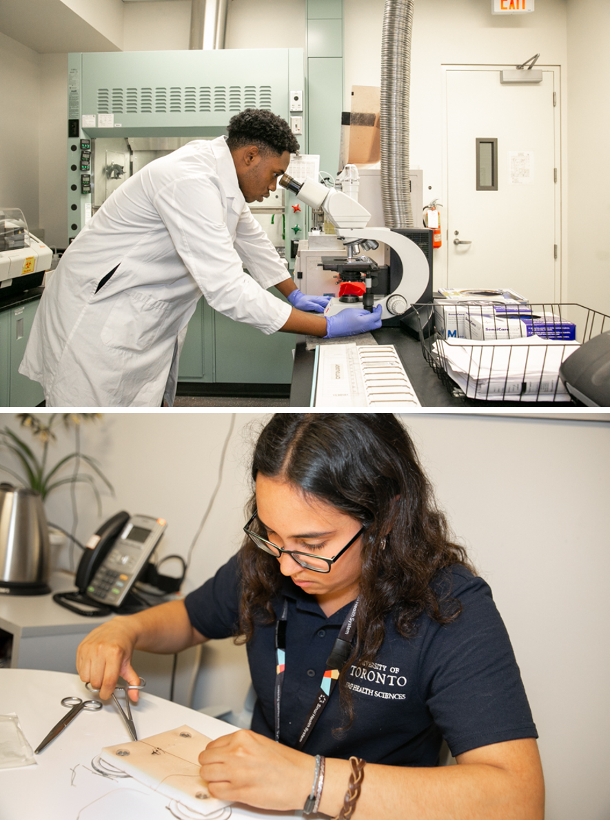 Jalanni (top) learned about how lab technicians prepare patient samples for analysis in Cytopathology. Crea (below), and other students visited the Surgical Skills Centre at Mount Sinai where they practiced stitches on pads made of silicon and foam.