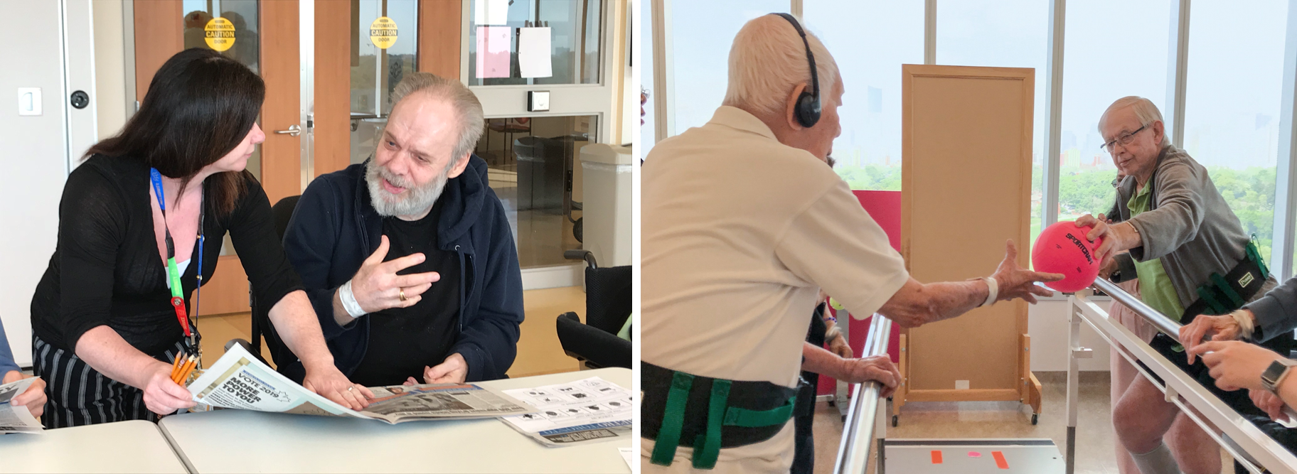 Two separate photos next to each other. One shows a patient and member of the clinical team at a table discussing a newspaper. The second photo shows an exercise class where two patients are standing holding onto railings and passing a ball to each other.