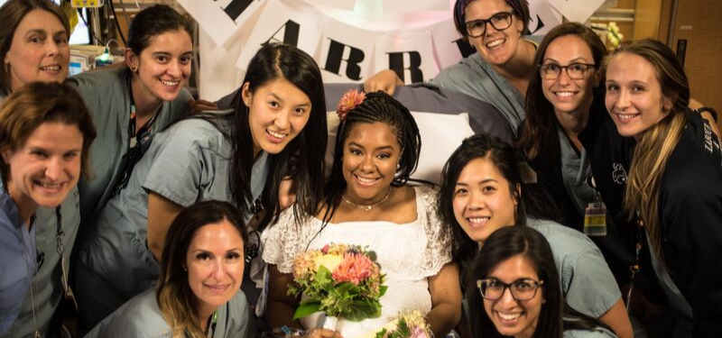 Labour and delivery team with the bride