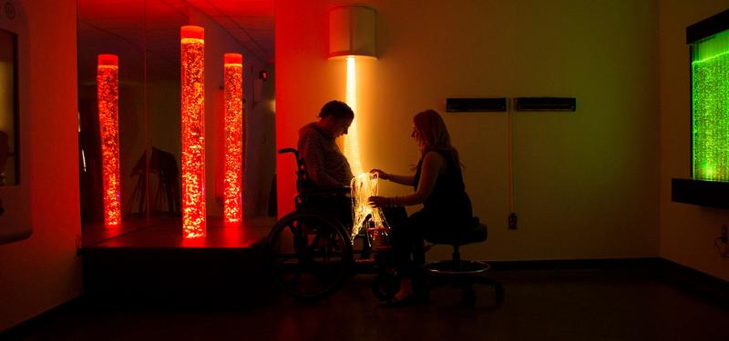 patient and therapist in Bridgepoint's Snoezelen Room