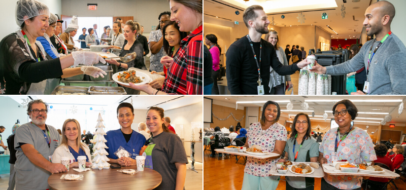 4 images of Sinai Health employees in holiday celebration