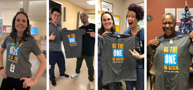 Pictures of Sinai Health employees holding up be the one in seven shirts