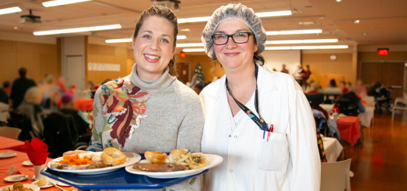 employees enjoying holiday meal