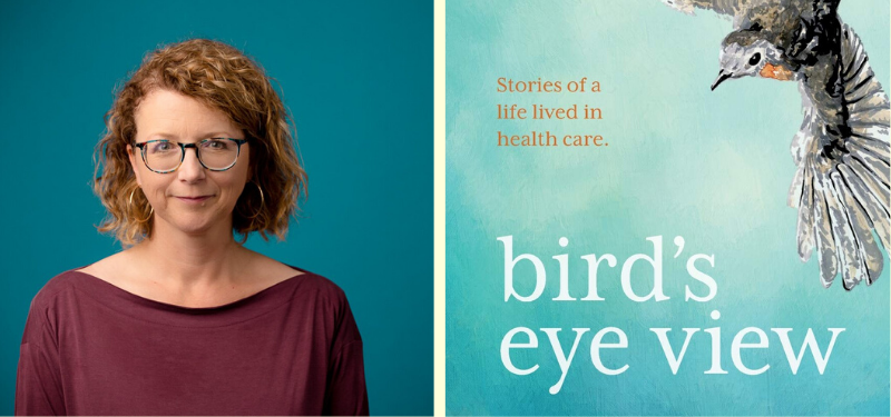Headshot of author Sue Robins, book cover of bird's eye view