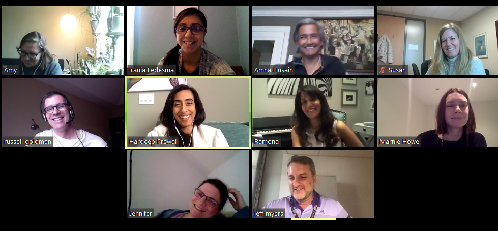A screenshot of a video conference call with 10 people participating in different locations. They are looking at the camera smiling