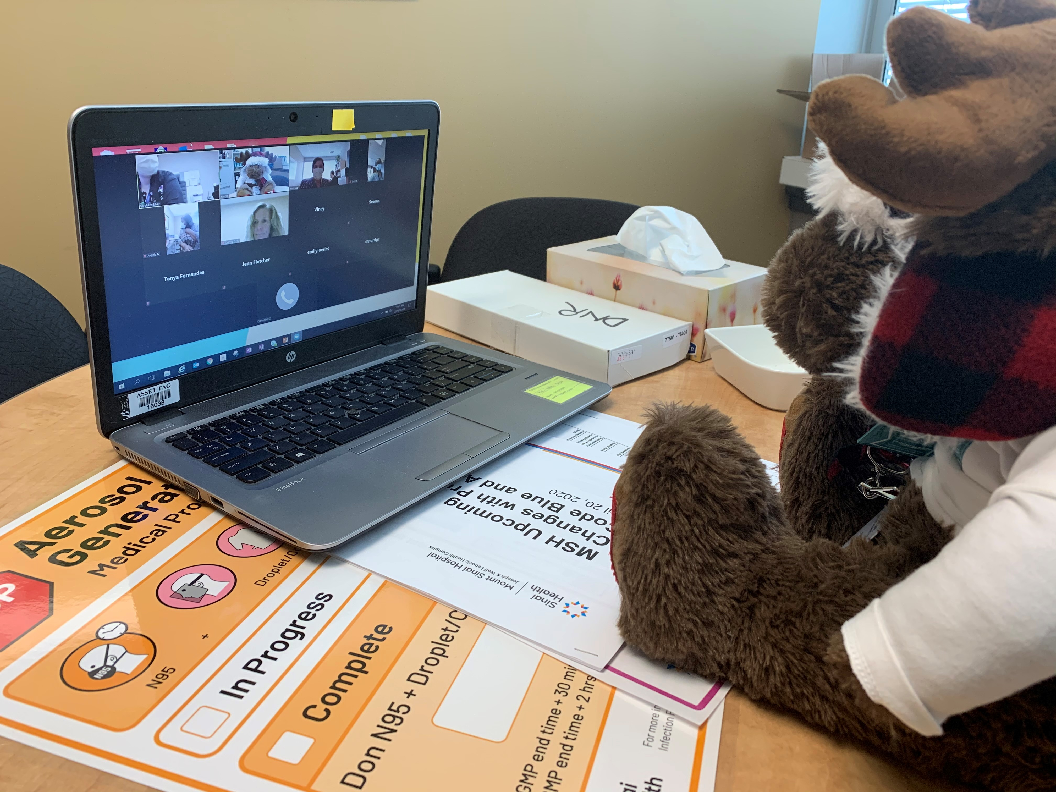 A stuffed animal moose, sitting on a table in front of a laptop as if he is participating in a video conference call.