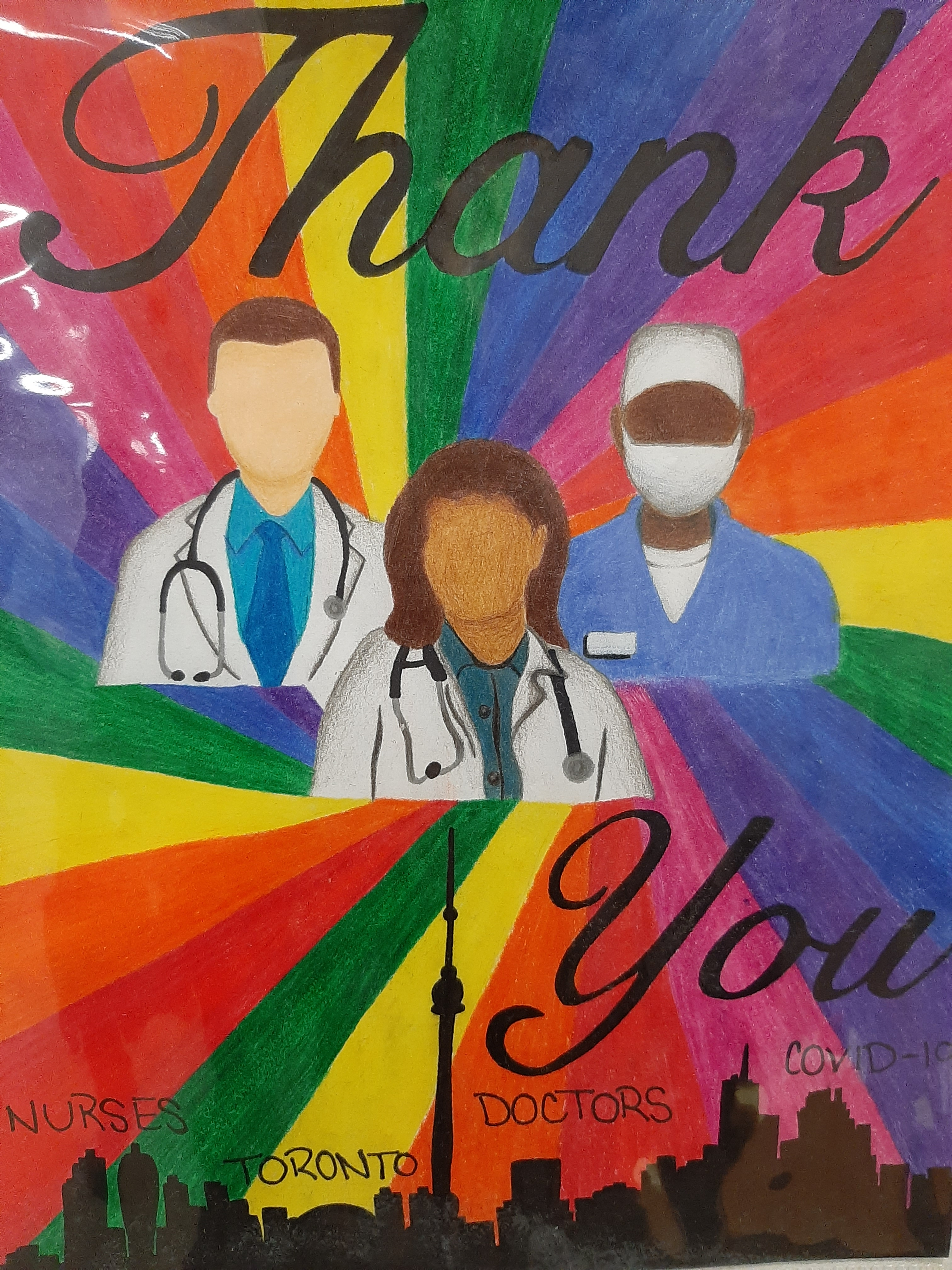 Illustration with bright rainbow like colours behind three health care workers. Large text says Thank You. at the bottom is a silhouette Toronto skyline with the words, Nurses, Toronto, Doctors COVID-19