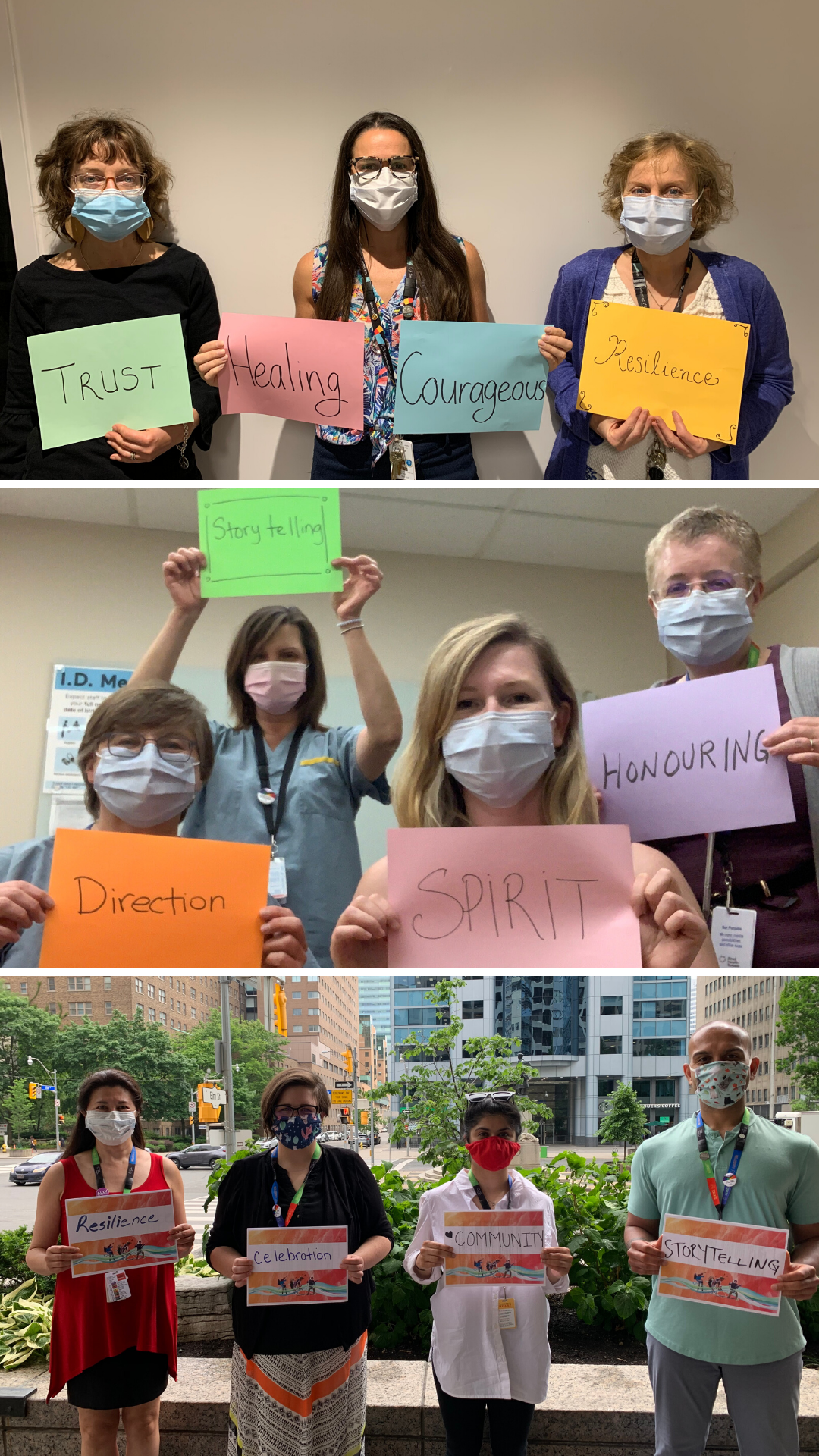 Three photos of people wearing masks holding up signs