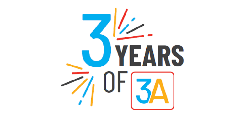 3 years of 3A logo