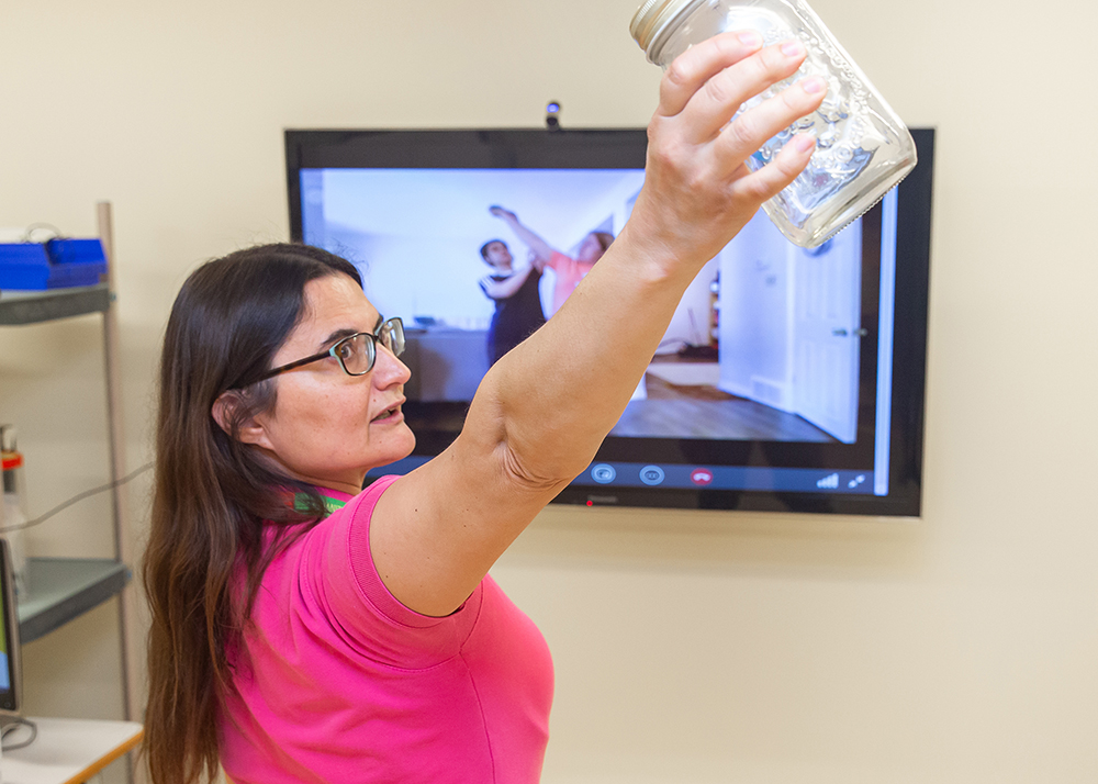 Providing outpatient rehabilitation through a video call