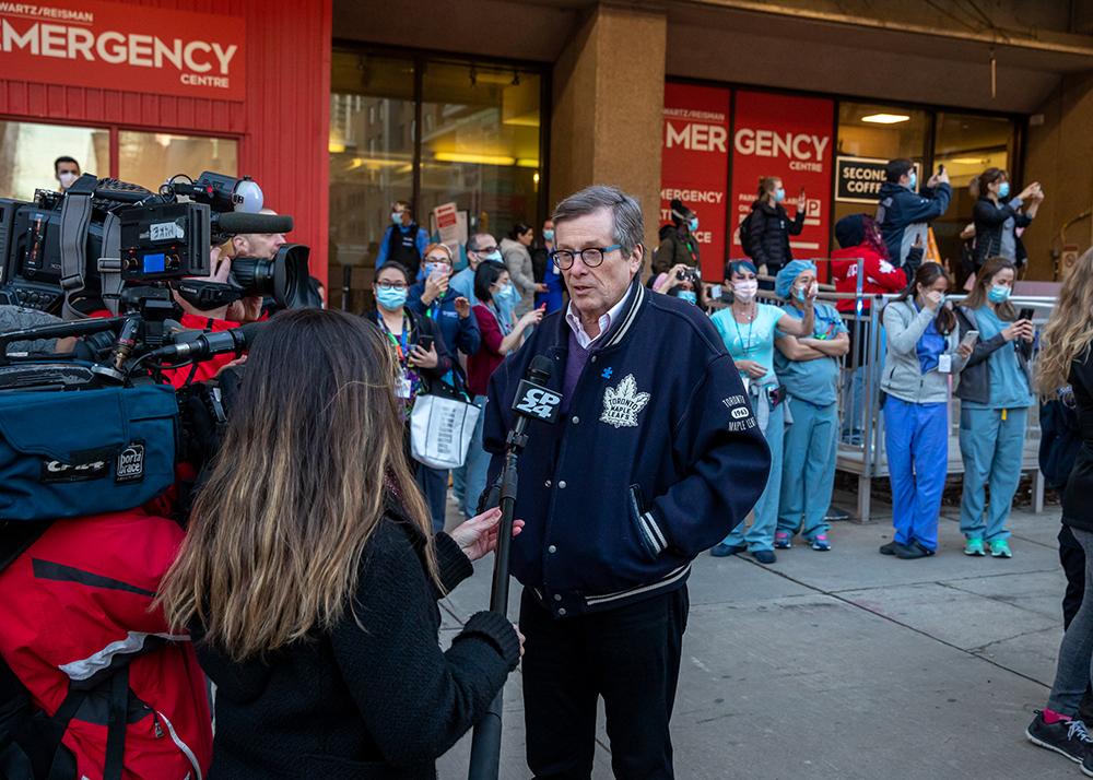 John Tory outside the Schwartz/Reisman Emergency Centre