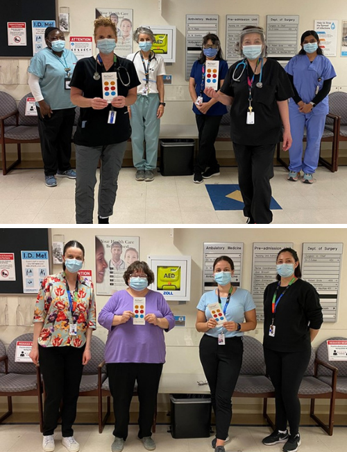 Two photos collaged together each photo has a team of health care professionals standing in a hospital, wearing surgical masks. They are looking at the camera and each is holding a brochure.