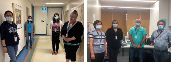 Two photos side-by-side of health care workers. One has a group of four standing in a hallway. The other has a group of four standing in a reception area.