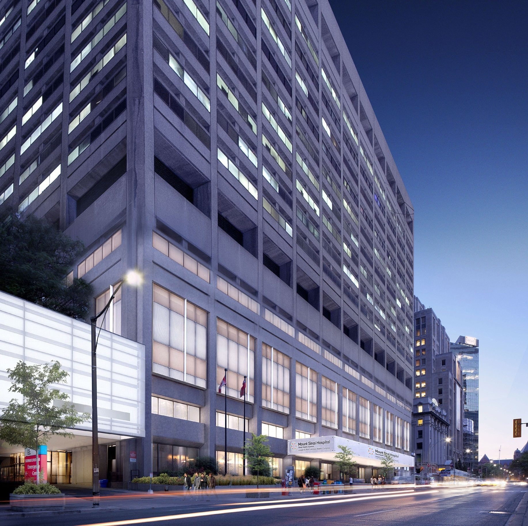 A computer generated rendering that shows Mount Sinai Hospital from University avenue in the late evening. The rendering shows what the hospital's new facade will look like when the Renew Sinai Phase 3A Redevelopment project is complete.