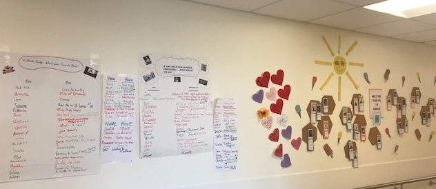 A wall in a hospital with posters and photos created by members of the palliative care team. There is a sun at the top and some of the items posted are shaped like hearts, hexagons and ice cream cones.