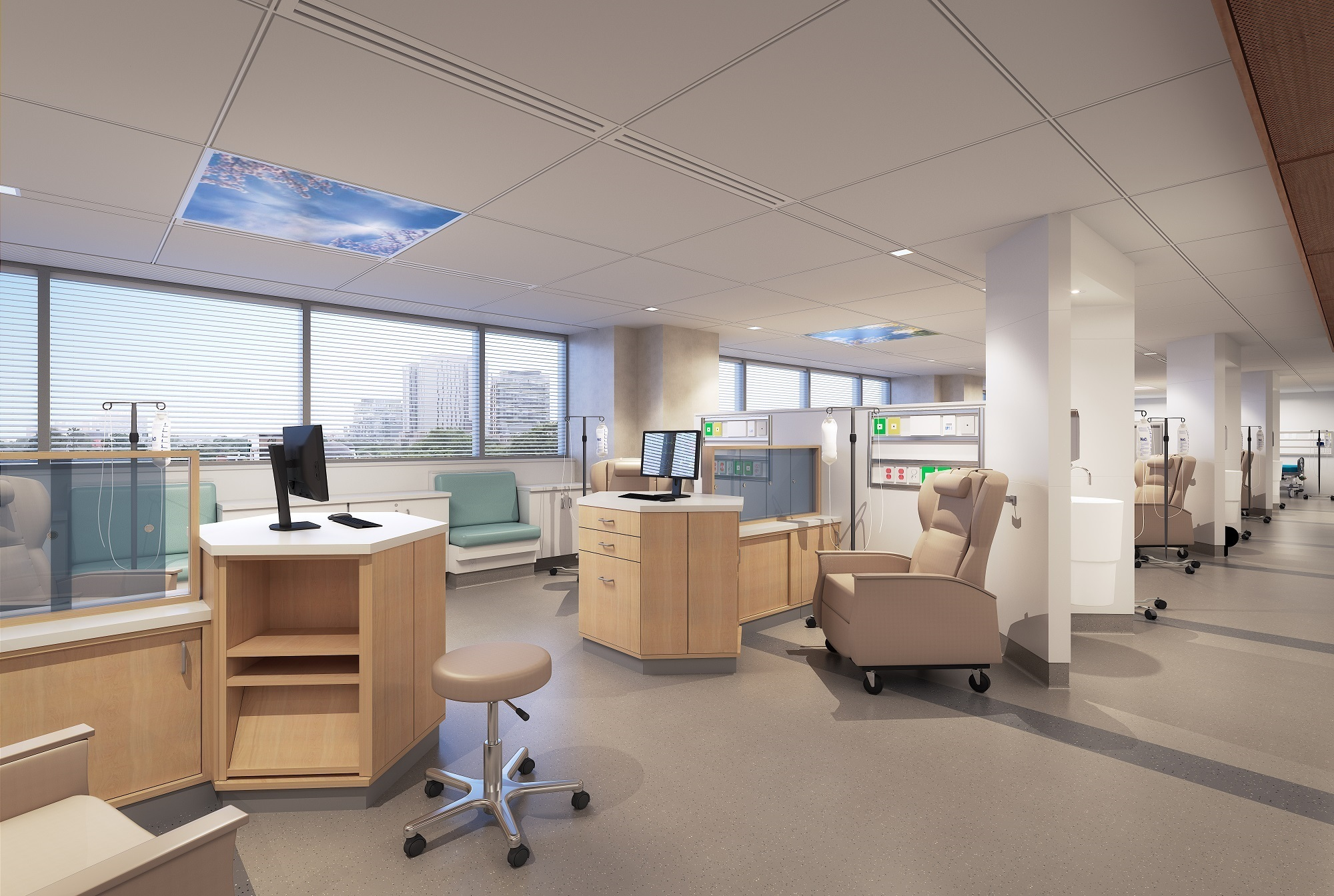 A computer rendering of a new cancer clinic that has multiple stations for patients, with a recliner and a stand for an intravenous bag in each station.