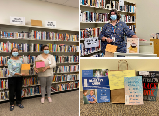 Three separate images of a library at Bridgepoint Active Healthcare, one has two library employees in front of a shelf holding up books, looking at the camera. One has another library employee with a book cart and book shelves in the background, looking at the camera. the third photo is a close up of books and a brown paper bag with handles that is used to deliver books to patients in the hospital